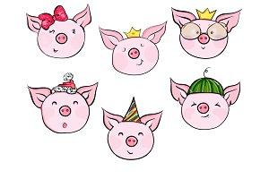 Set of cute pig cartoon characters