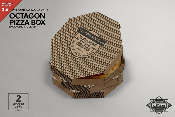 Octagon Pizza Box Packaging Mockup Psd Mockup Email Psd Mockups