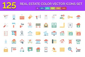 125 Real Estate Color Vector Icons S