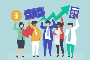 Business people financial growth