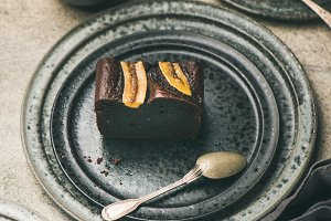 Pieces of dark chocolate banana