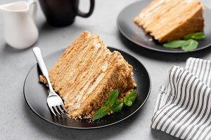 Layered honey cake Medovik on plate