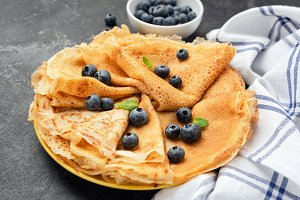 Crepes or blini on plate