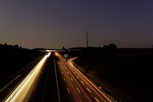 highway at night time exposure