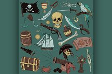 colored Pirates set. Hand drawn