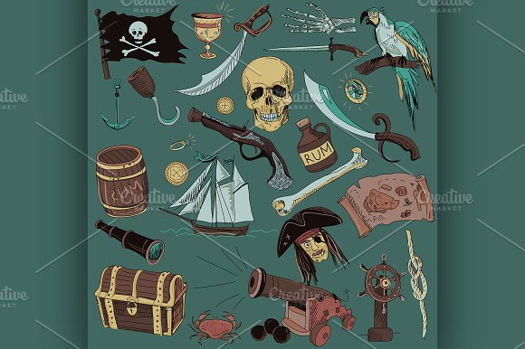 colored Pirates set. Hand drawn - Illustrations