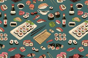 Colored Sushi and rolls pattern