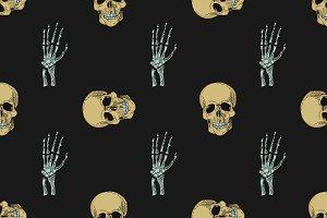 doodle skull pattern