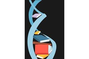 DNA spiral made out of books. Vector