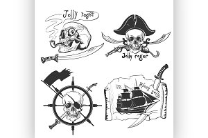 Labels pirate theme hand drawing
