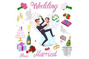 set vector wedding just married