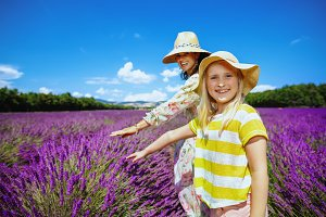 mother and child at lavender field t