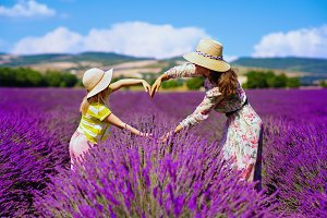 mother and child at lavender field m