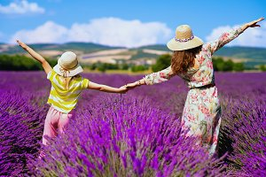 mother and child against lavender fi