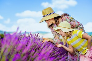 mother and child in lavender field s