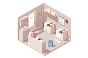 Vector isometric office copy room
