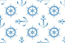 marine themed seamless pattern