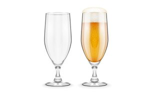 Beer with foam in glass goblet for pub drinking