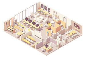 Isometric coworking space interior