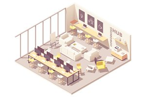 Isometric coworking open space