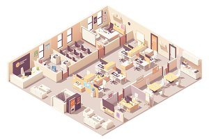 Isometric office interior plan