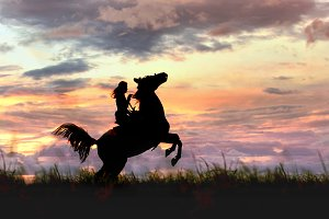Female horse silhouette before storm