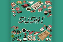 Sushi vector illustration. Hand draw
