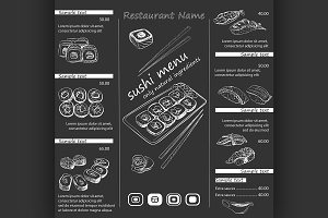 vector illustration of a sushi menu