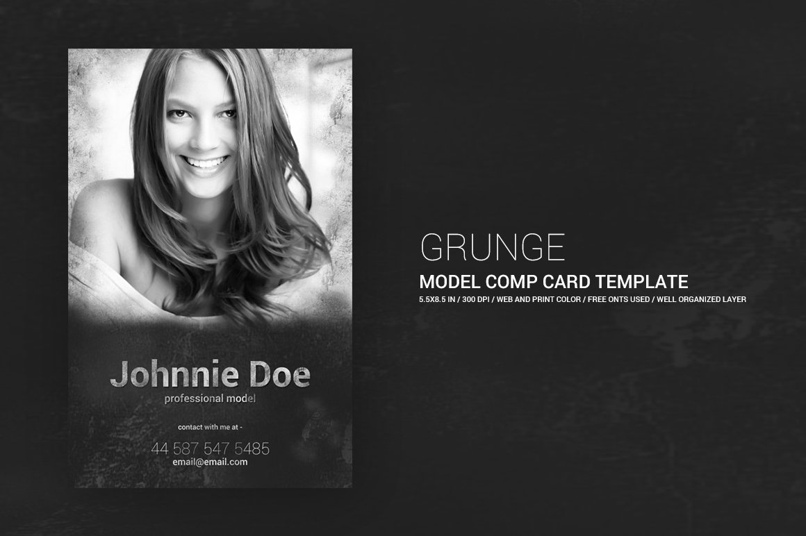Grunge Model Comp Card X Templates Creative Market - Free comp card template