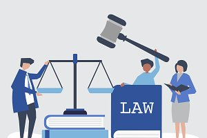 Illustration of people with justice
