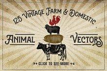 Vintage Farm Animal Vector Graphics