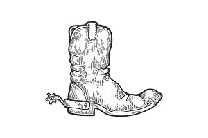 Cowboy boot engraving vector
