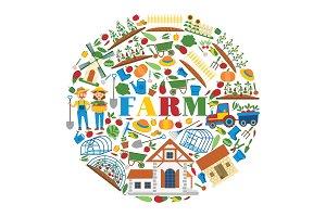 Farm vector farming house gardening