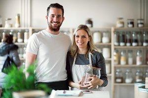 A portrait of two shop assistants