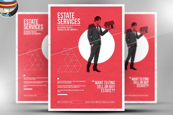 minimal real estate flyer template flyer templates on creative market. Black Bedroom Furniture Sets. Home Design Ideas