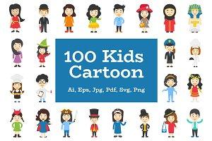 100 Kids Cartoon Characters Vector