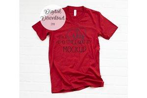 Red 3005 Bella + Canvas Shirt Mockup