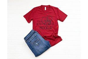Bella + Canvas Red 3005 Shirt Mockup