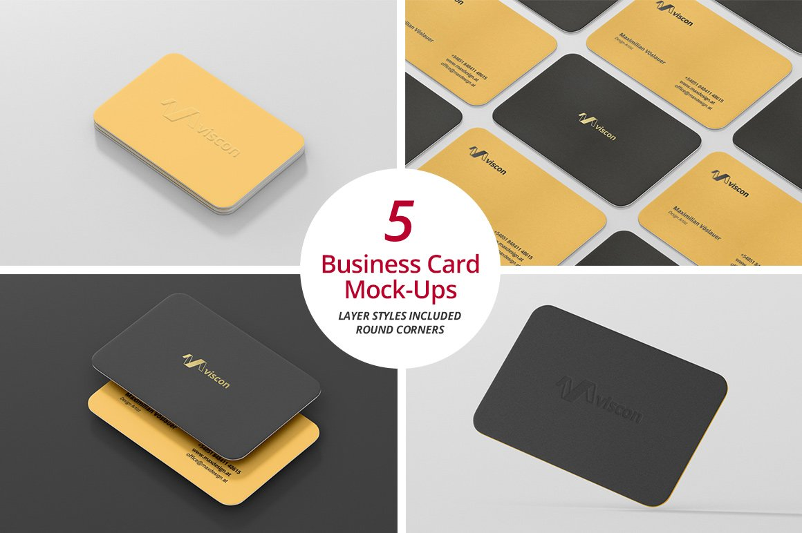 Business card mock ups round corners product mockups creative market reheart Image collections