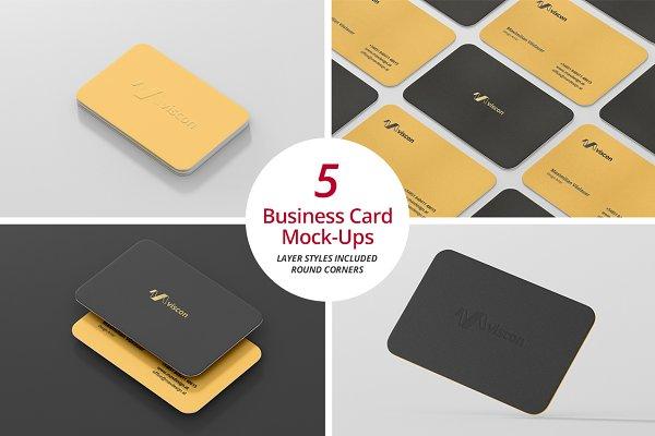 Business Card Mock-Ups Round Corner…