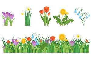Cartoon Garden Flowers Set