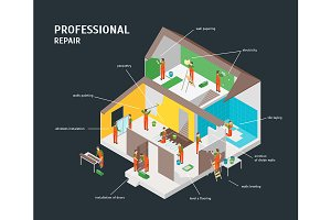 Home Repair Infographic Concept