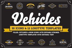 Awesome Vehicles Icons and Logo Set