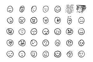 Sketch hand drawn emoji set