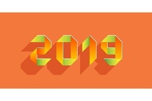 New 2019 year paper card made