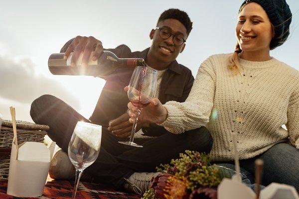 Interracial couple on romantic date