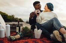 Interracial couple on a romantic