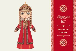The girl in Turkmen dress.