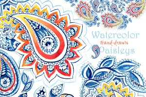 Hand-drawn watercolor paisley