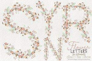 Flower Letters 01BI07 Floral Clipart